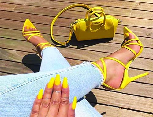 yellow nails, shoes, purse