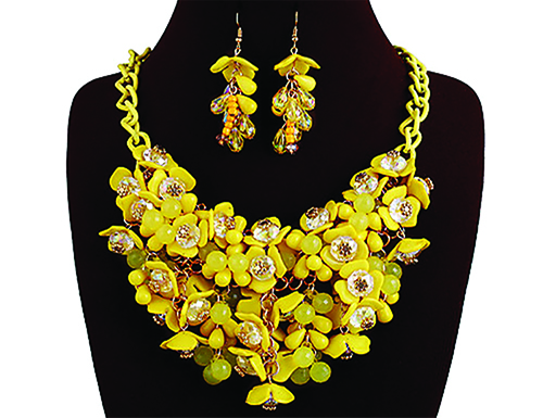 yellow and gold necklace and earrings